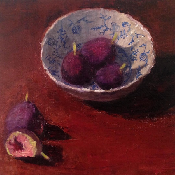 """Fresh Figs"" oil on canvas/panel, 8x.5x9"" by Lauren Kindle"