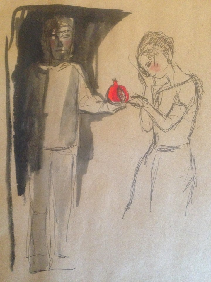 """Hades offering his kidnapped bride a pomegranate , pen and gouache sketch, 8x10"""""""