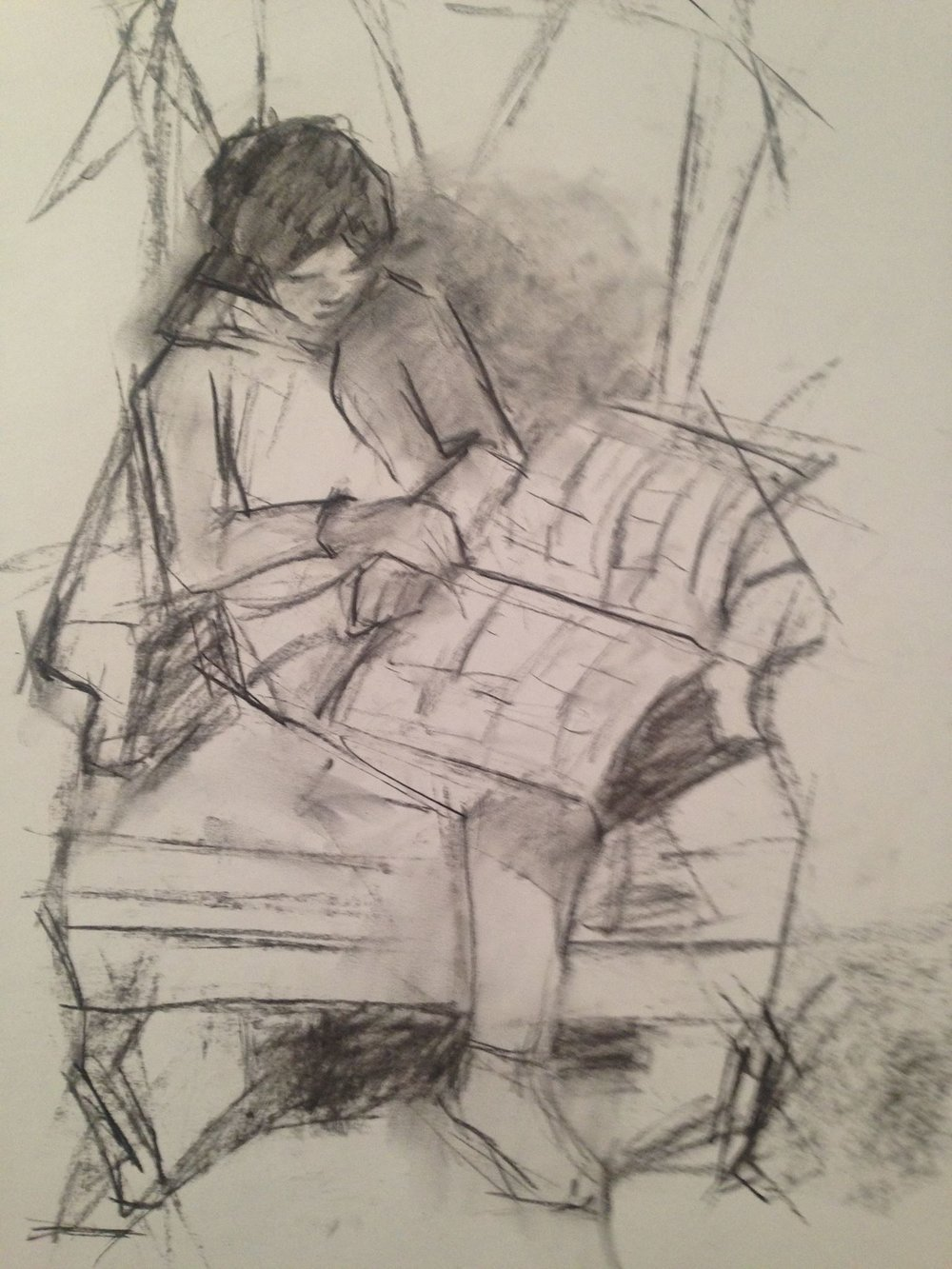 Morgan reading comic books.  charcoal, 18x24 inches