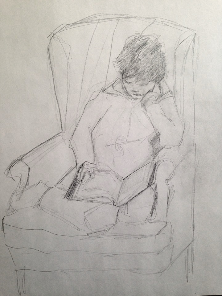 "Morgan reading ""Wings of Fire, Book 6"" pencil on paper, 18x24 inches"