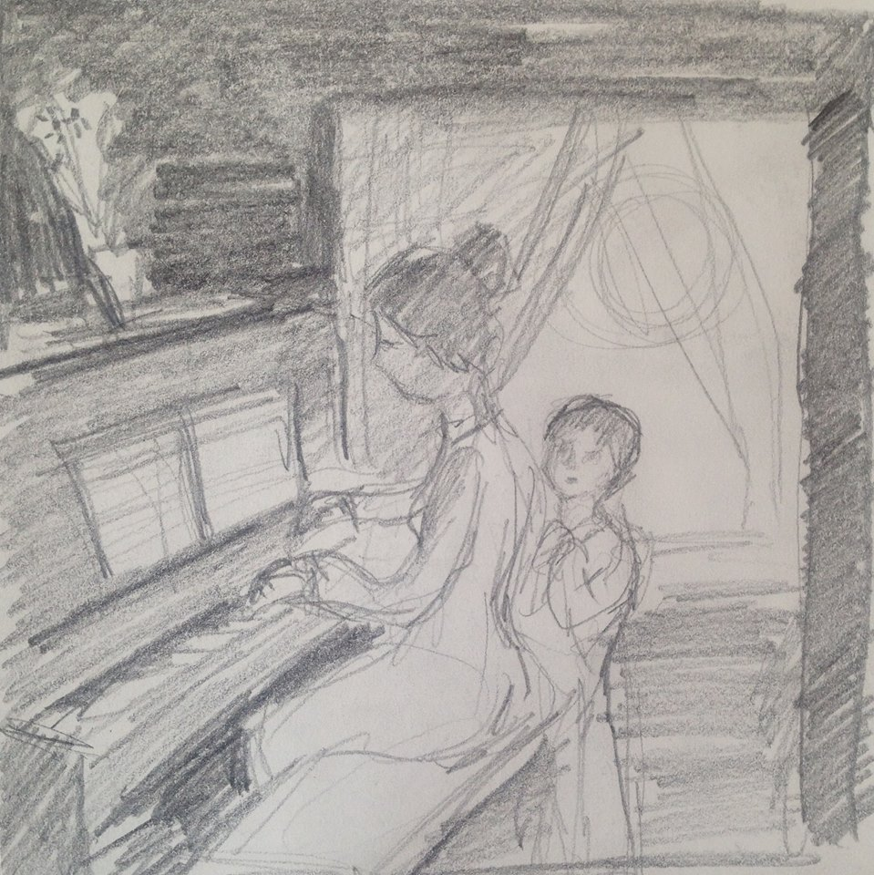 """A Childhood Memory"" pencil sketch"