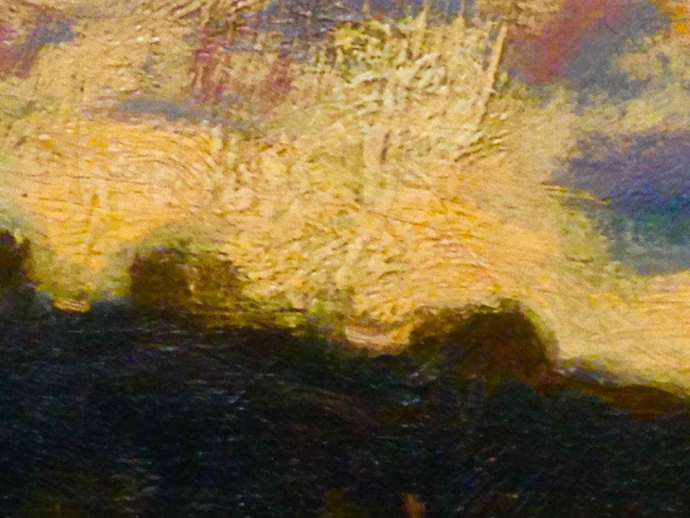 "close-up detail of the treeline in previous painting, ""The Seine at Bougival, Evening"" by Monet"
