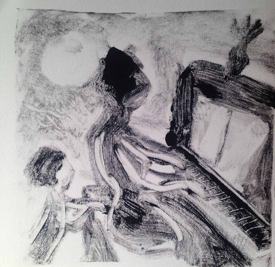 """""""A Childhood Memory (4)"""" monotype, 5x5 inches"""