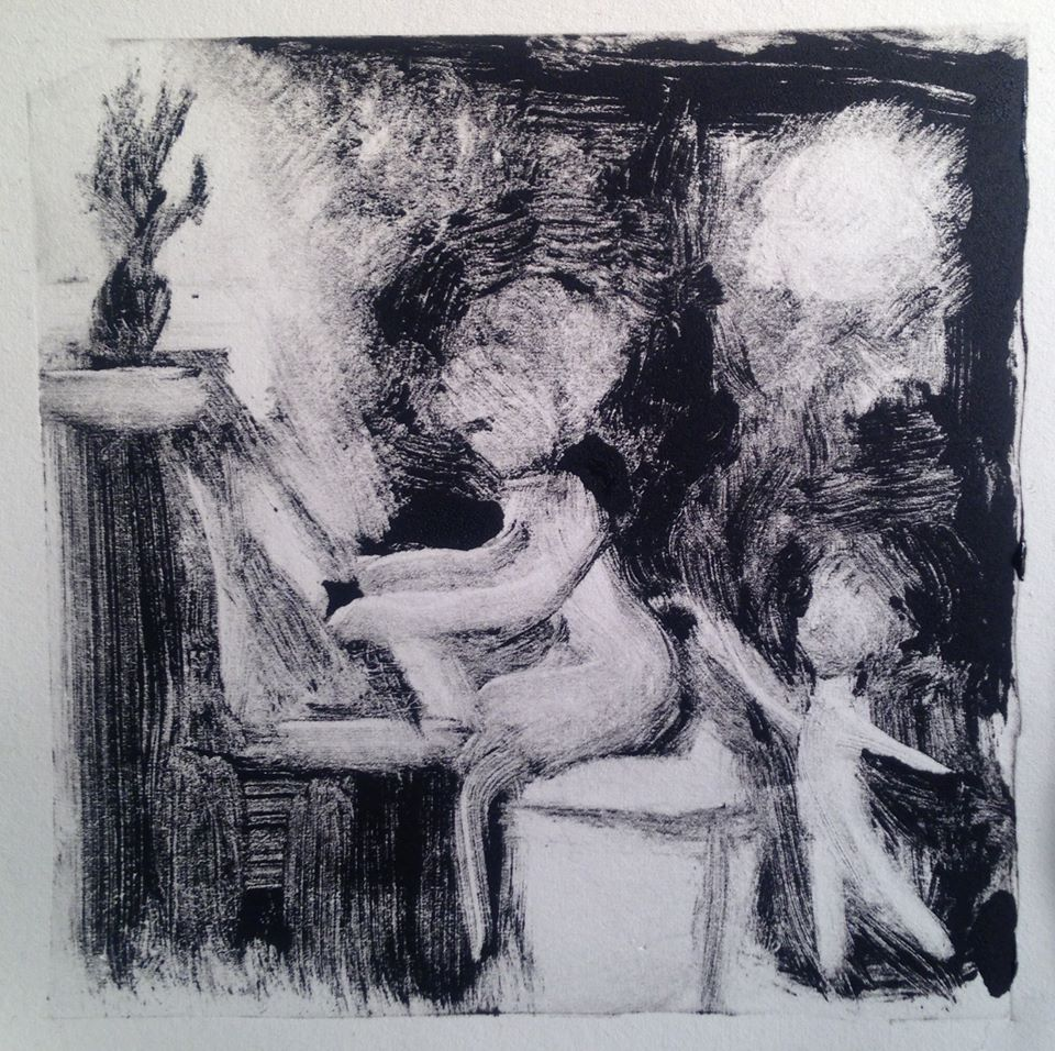 """""""A Childhood Memory (5)"""" monotype, 5x5 inches"""