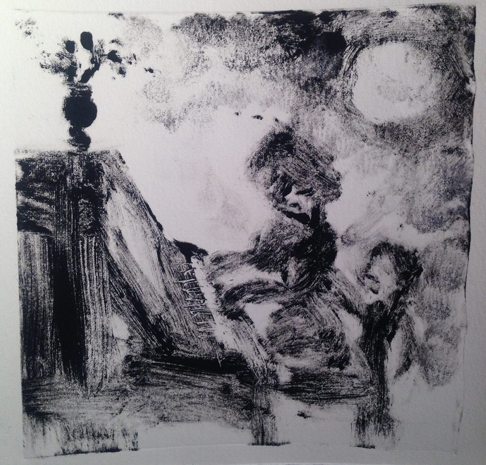 """""""A Childhood Memory (3)"""" monotype, 5x5 inches"""