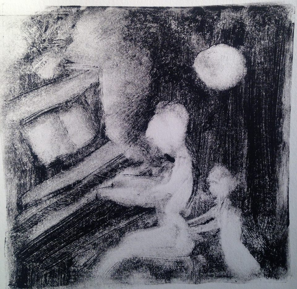 """""""A Childhood Memory (2)"""" monotype, 5x5 inches"""