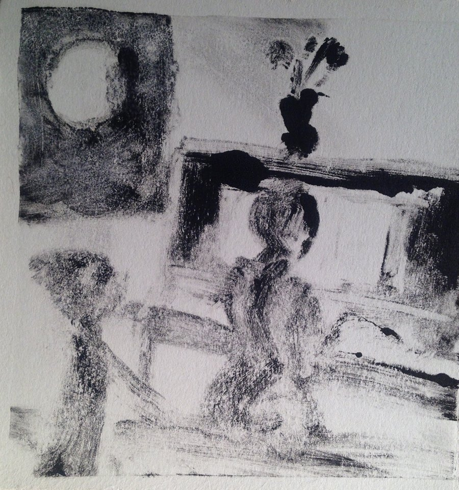 """""""A Childhood Memory (7)"""" monotype, 5x5 inches"""