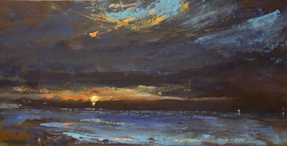 """""""Beyond the Cove"""" oil on panel, 12 x 24 inches. This painting will be part of my show, opening in April ( 4-5 ) , at  Lancaster Galleries ."""