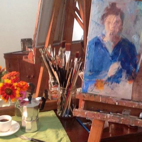 set up in my studio, beginning a self-portrait