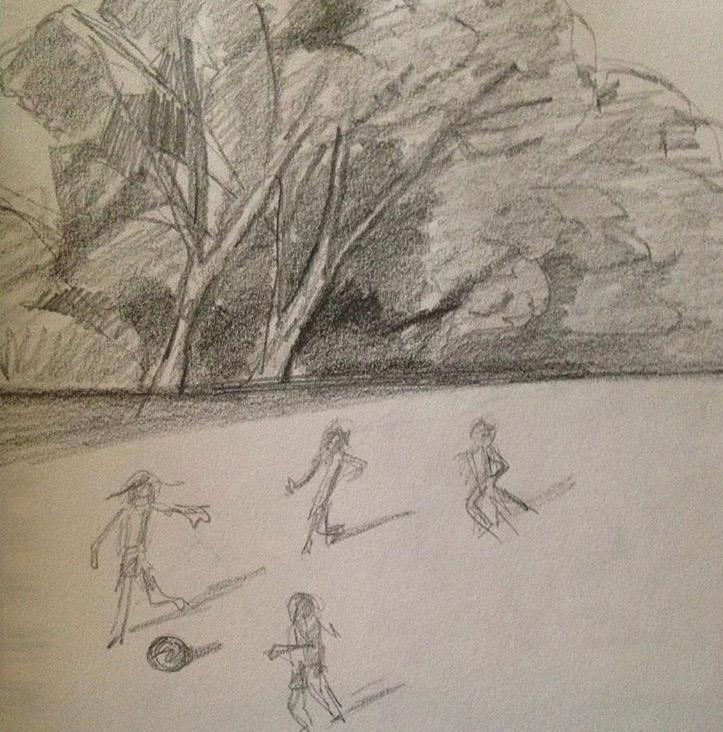 children playing soccer (sketchbook)