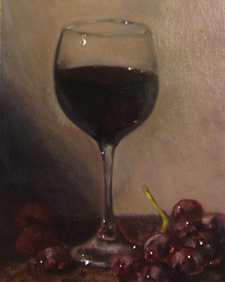 """""""Vino Rosso"""" 7x5 inches, oil on board"""