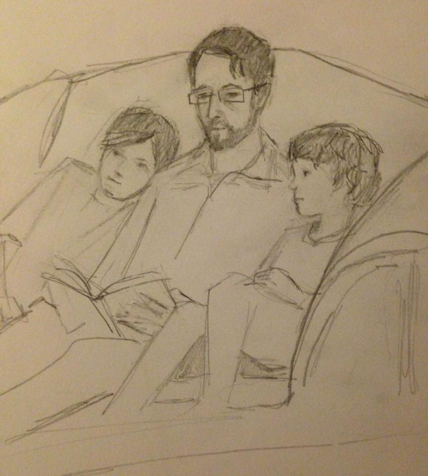 my family, reading (see    Storytime Sketches   )