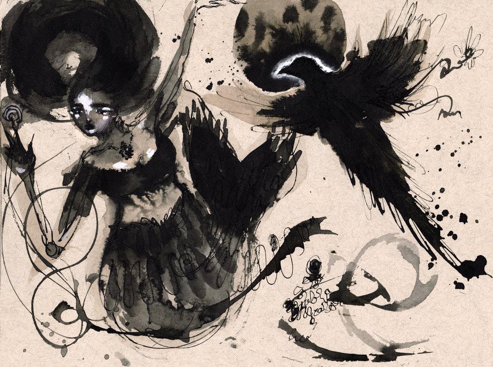 Raven mermaid doodles.jpg
