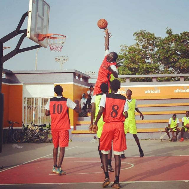 RISE Gambia #inspired #takeflight #intheair #hoopdreams #2017 #buckets #gambiabird #abovetherim #gambia #africa #fly