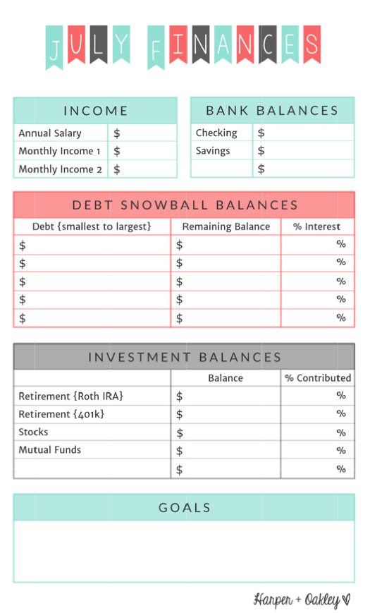 Free Finance Printable | Harper + Oakley
