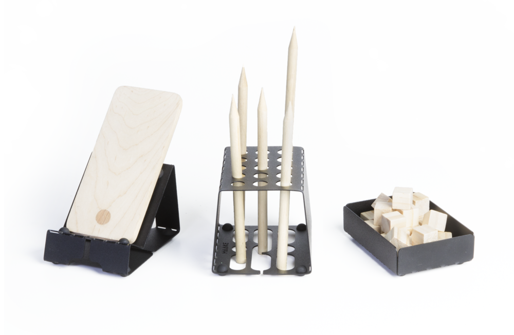 Three Flat Fold Hold Desk organizers with wooden items