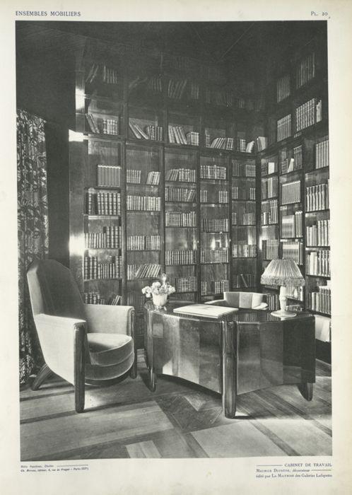 """Image from Ensembles Mobiliers, 1925. Caption: """"Cabinet de travail, Maurice Dufrêne, décorateur, édité par la Maîtrise des Galeries Lafayette."""""""