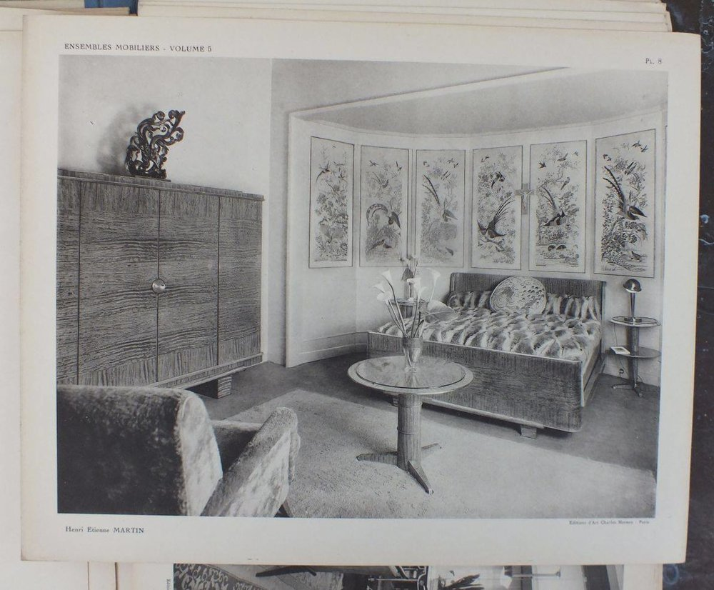 Image from Ensembles Mobiliers, Volume 5. Interior by Henri Etienne Martin. Publication created by Charles Moreau.