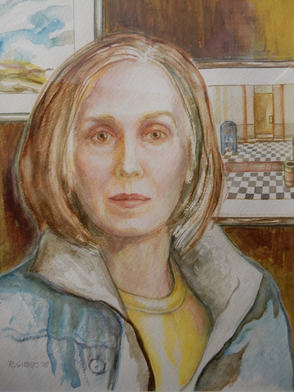 Ramona Gibbs, self-portrait  Looking Forward (Watercolor)