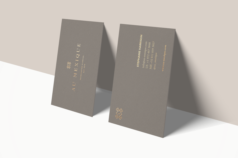 taupe business cards gold foil