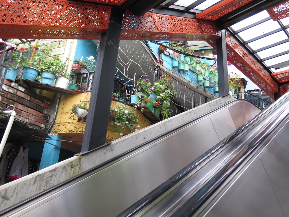 1 of the 6 escalators in La Comuna 13.