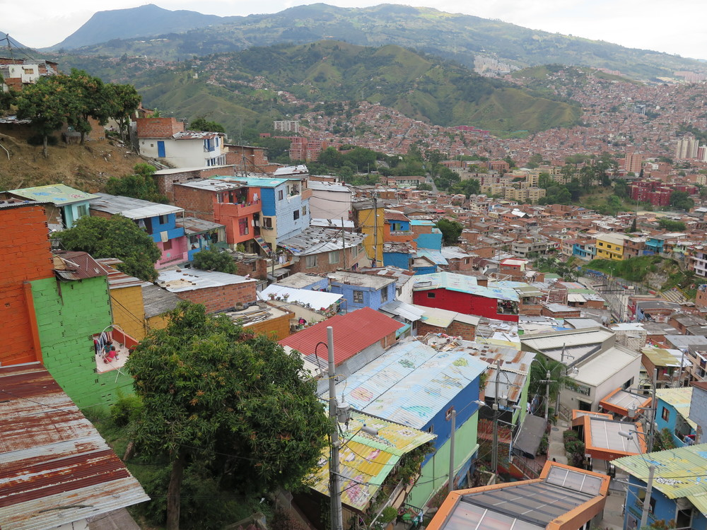 The view from the top of the escalators in La Comuna 13.