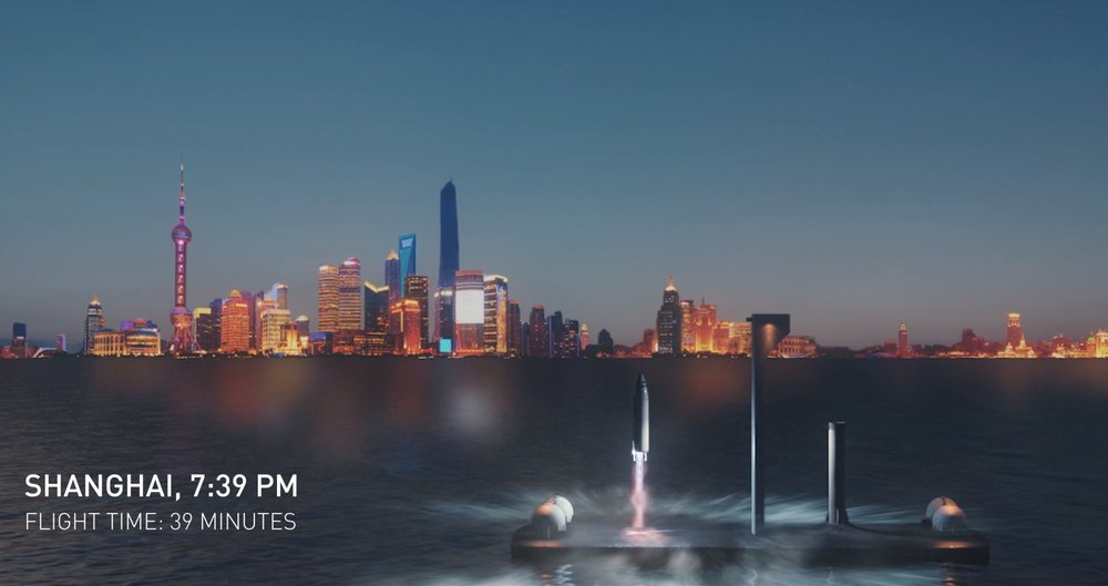 Anywhere On Earth In Less Than An Hour. - SpaceX Founder and CEO, Elon Musk, proposed a plan a couple weeks ago that sends passengers anywhere on Earth in less than an hour. In a short animated video showing the process of a flight using the BFR (and yes,it means exactly what you think it means.Big f---ing rocket.)from NYC to Shanghai, passengers are seen boarding a ship at 6:30 am. We then see that the flight time would be approximately 39 minuets to reach Shanghai. The BFR lifts off through the atmosphere and into the exosphere, on its way to China where passengers would unload and go through another boat ride back to land. Musk says the tickets would be