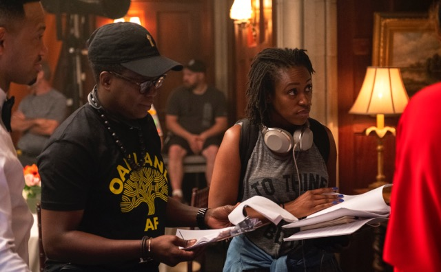 Working out the scene with director Cheryl Dunye on the set of STAR S3  Credit: Wilford Harewood