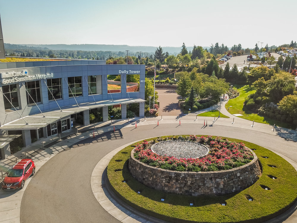Good Samaritan Hospital - In 2010 SS Landscaping was offered the opportunity to install Multicare's massive addition to the Good Samaritan Hospital in Puyallup, Wash. An expansive rose garden, courtyard labyrinth, green walls and interior gardens and other features were added to the landscape.