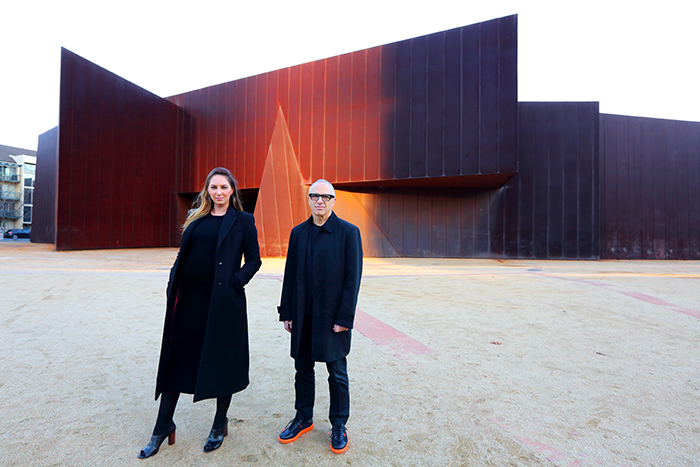 Maree Di Pasquale (Director and CEO Melbourne Art Foundation) and Charles Justin (Chair Melbourne Art Foundation) on the Northern Forecourt of ACCA and the site of Melbourne Art Fair 2018