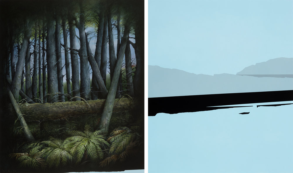Jarek Wojcik, Recording Landscape, 2017, acrylic on polyester canvas, diptych 60 x 50cm each panel