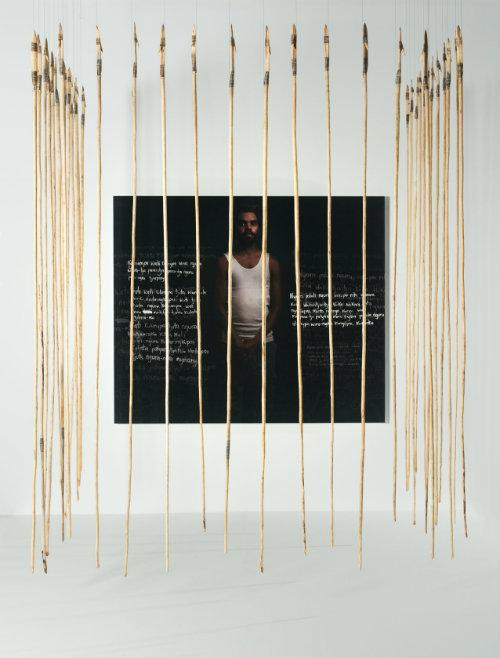 Kulata Tjuta – Wati Kulunya tjukurpa (Many Spears - Young fella Story), by Anwar Young, Unrupa Rhonda Dick and Frank Young. Photograph: Merinda Campbell/Museum and Art Gallery of the Northern Territory