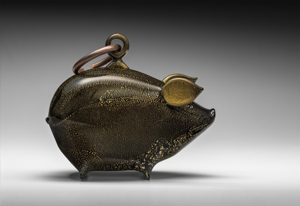 Nick Wirdnam - 'gold pig charm', handblown glass, gold leaf and patinated copper, 20.5 x 24 x 11.5cm