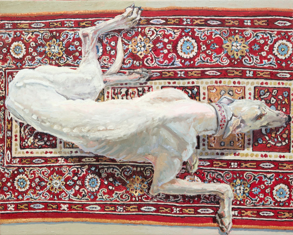 Lucy Culliton 'Lacey on Caroline's carpet' 2017  oil on linen  120.0 x 95.0 cm
