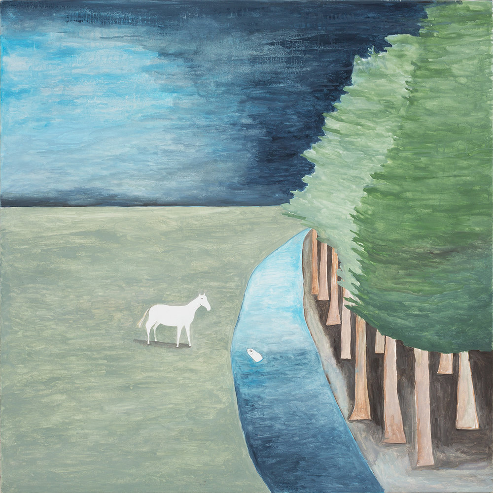 Noel McKenna, Fish talking to Horse, 2017, oil on canvas, 100 x 100cm