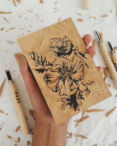 "This 4""x 5"" piece was drawn, carved, and then printed by hand using a linoleum block onto heavyweight bristol."