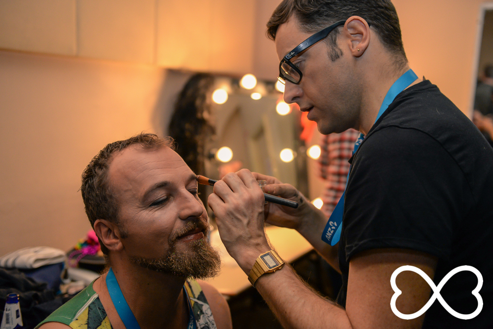 Contestant Laurence Stark being made up by Lewis Oswald backstage at Lip-Sync Duels.  Photograph by Jeffrey Feng Photography for SGLMG.