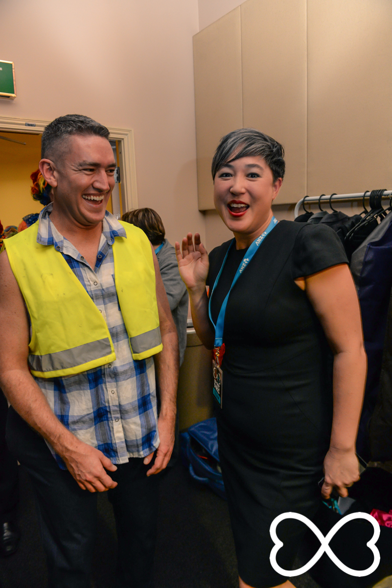 First round rivals Dan Murphy and Jenny leong share a moment backstage at Lip-Sync Duels.  Photograph by Jeffrey Feng Photography for SGLMG.