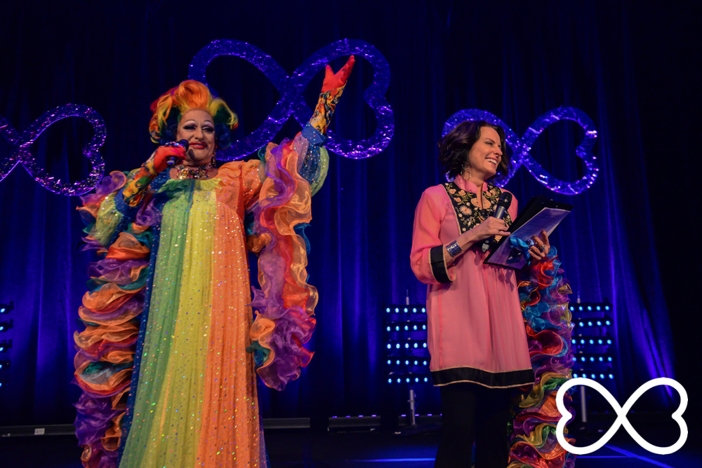 Hosts Polly Petrie and Gretel Killeen welcome everyone to Lip-Sync Duels.  Photograph by Jeffrey Feng Photography for SGLMG.