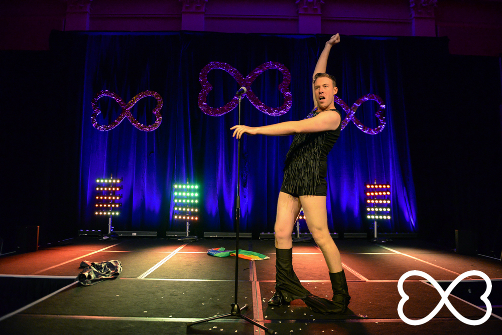 Mardi Gras director James Brechney competes at Lip-Sync Duels.  Photograph by Jeffrey Feng Photography for SGLMG.