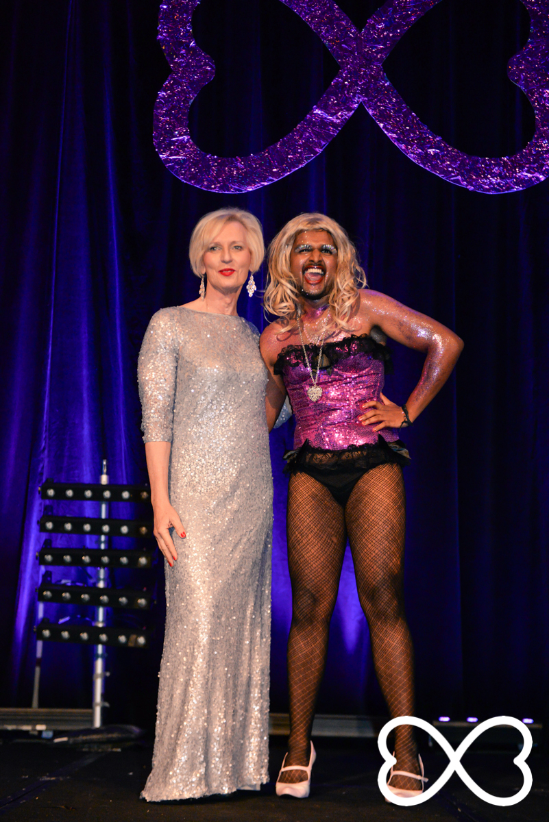 Cate McGregor and Senthorun Raj await the audience vote at Lip-Sync Duels.  Photograph by Jeffrey Feng Photography for SGLMG.