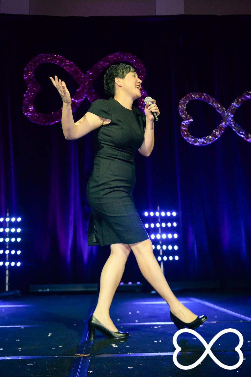 Jenny Leong performs in the first round at Lip-Sync Duels.  Photograph by Jeffrey Feng Photography for SGLMG.