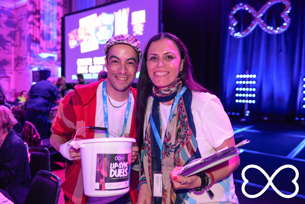 2 fabulous volunteers at Lip-Sync Duels.  Photograph by Jeffrey Feng Photography for SGLMG.