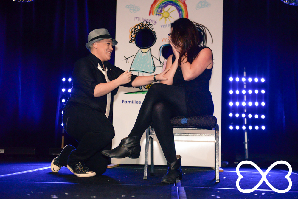 A surprise proposal from Amanda Crammon at Lip-Sync Duels.  Photograph by Jeffrey Feng Photography for SGLMG.