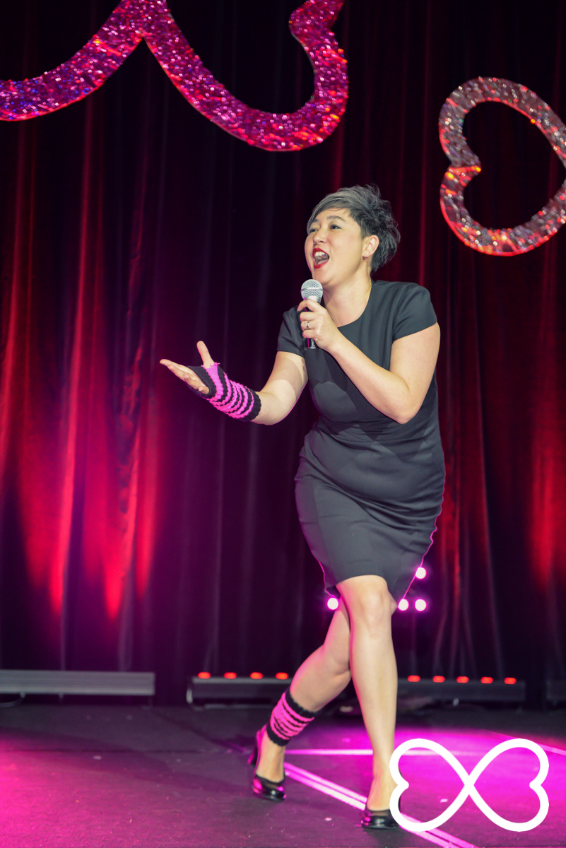 Jenny Leong performing during the third round of Lip-Sync Duels.  Photograph by Jeffrey Feng Photography for SGLMG.
