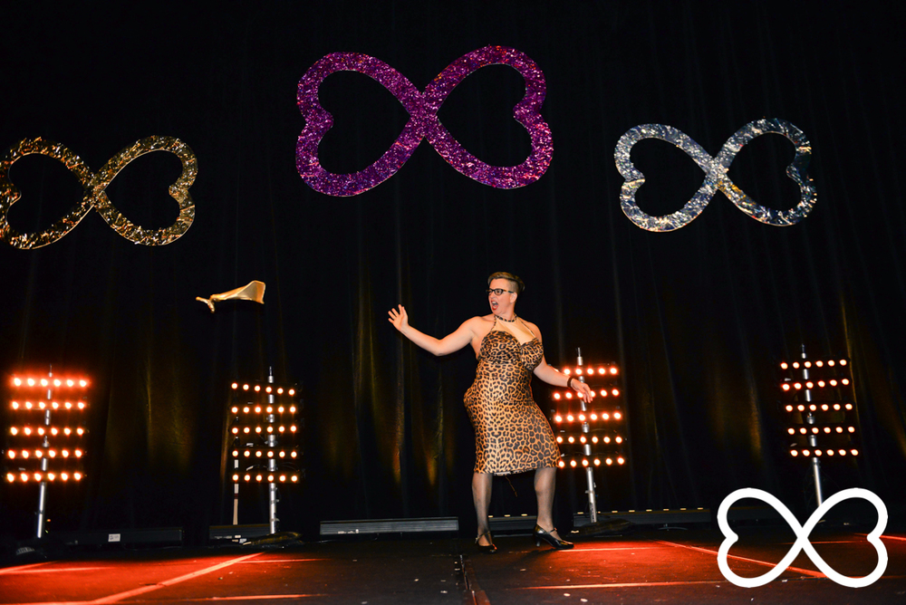 Shelly Silberman on stage during Round 3 at Lip-Sync Duels.  Photograph by Jeffrey Feng Photography for SGLMG.