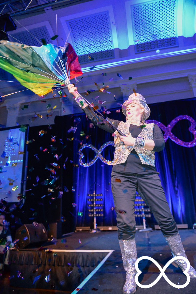 Fran Bowron adds sparkle and confetti during Round 3 at Lip-Sync Duels.  Photograph by Jeffrey Feng Photography for SGLMG.