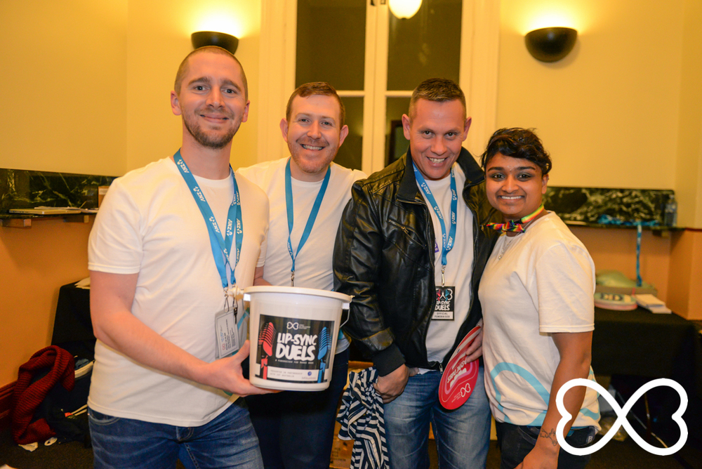 Some of the fundraising team at Lip_sync Duels.  Photograph by Jeffrey Feng Photography for SGLMG.
