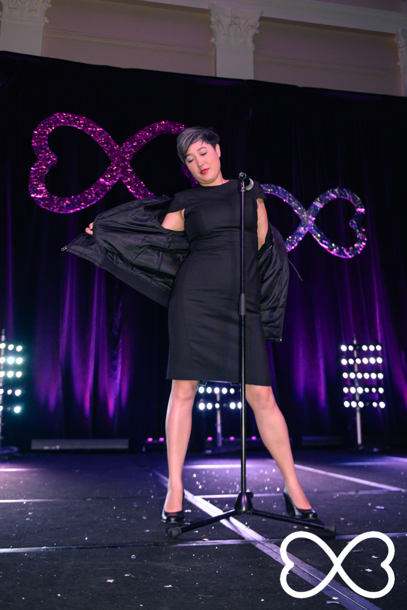 Jenny Leong performing during the Grand Final at Lip-Sync Duels.  Photograph by Jeffrey Feng Photography for SGLMG.