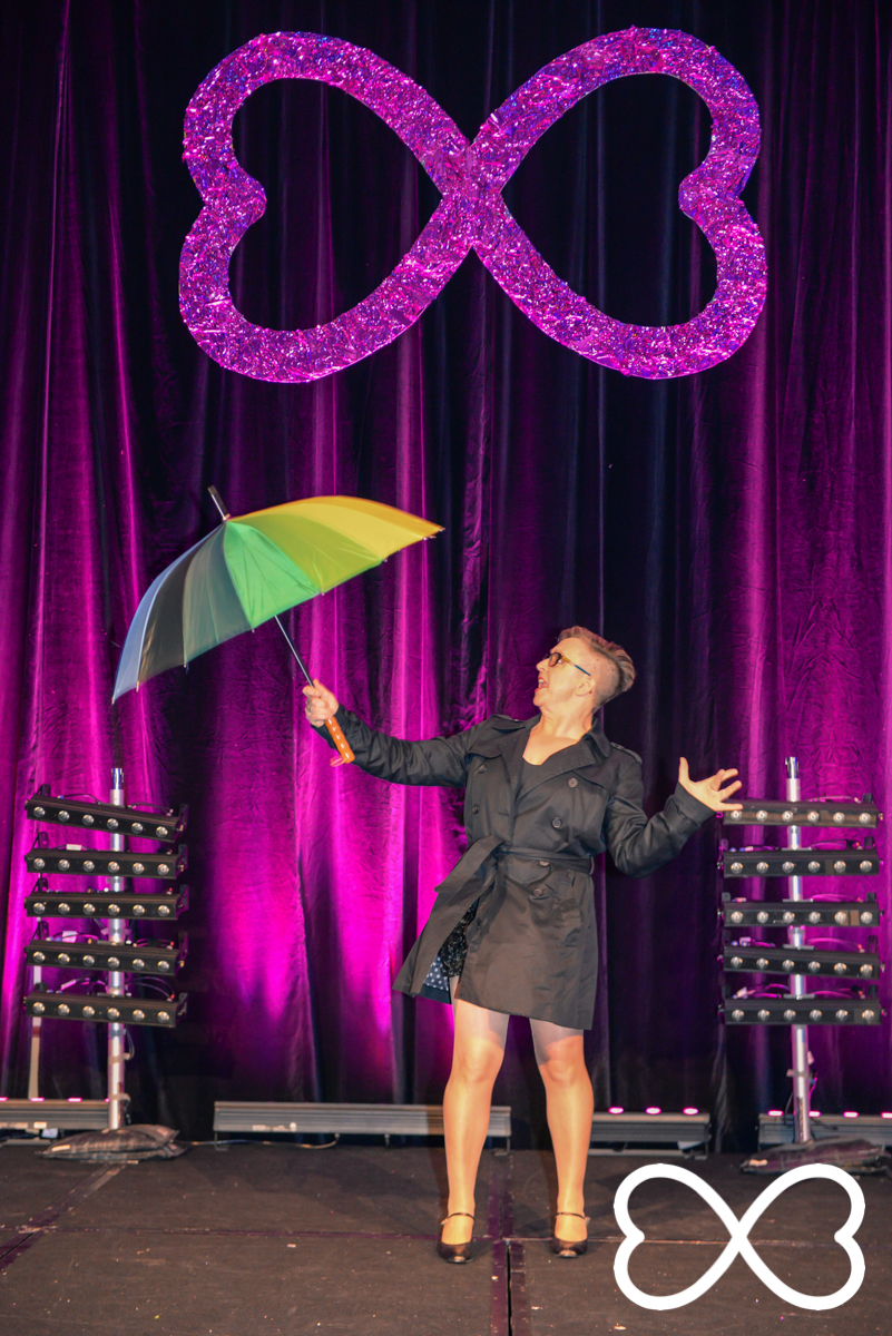 Shelly Silberman performing during the Grand Final at Lip-Sync Duels.  Photograph by Jeffrey Feng Photography for SGLMG.